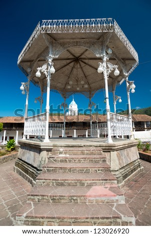 This image shows the square in the town of San Sebastian near Peurto Vallarta