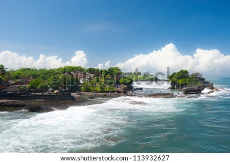 This image shows the Tanah Lot temple Complex, in Bali island, indonesia