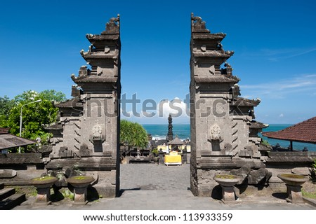 This image shows the Tanah Lot temple Gates, in Bali island, indonesia