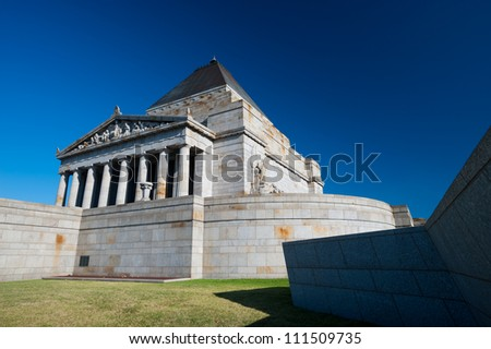 This image shows the The Shrine of Remembrance in Melbourne, Australia