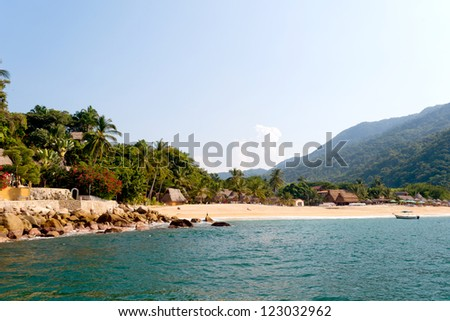 This image shows the town of Yelapa in Mexico (Near Puerto Vallarta)