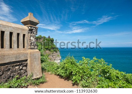 This image shows the Uluwatu Temple in Bali, Indonesia