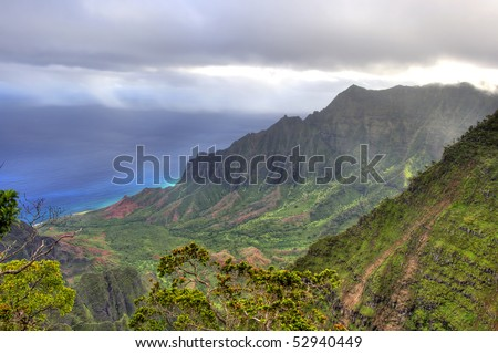 This image shows the vista from the Kalalau Lookout, Kauai, HI.