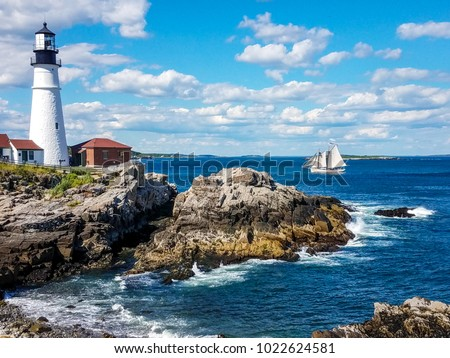 This image was captured on a bright June day at the famous Portland Headlight, also called the Cape Elizabeth Lighthouse in Cape Elizabeth, Maine.