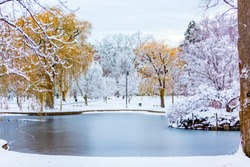 This image was taken in Boston Common Park after a snow storm.
