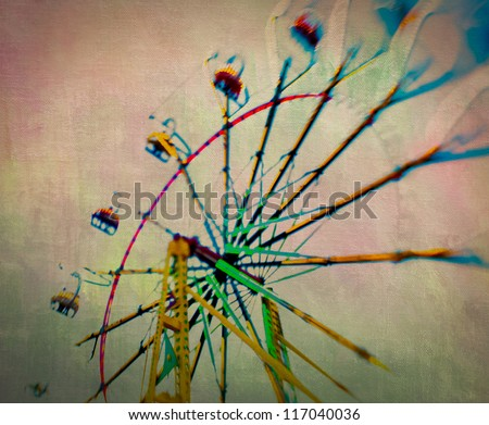 This image was taken with a lensbaby lens which is a creative lens system that emphasizes selective focus, texture was added in order to create a more carnival feel