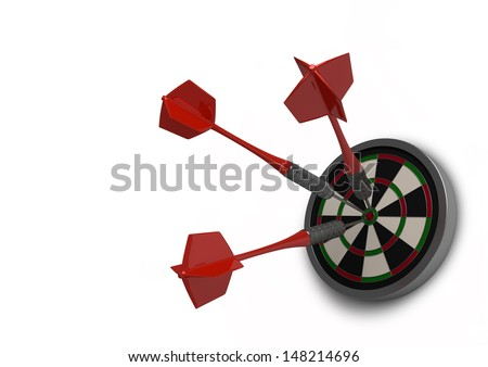 This is a beautiful clean 3D render of three darts in the bulls eye. This image is perfect as an icon  representing sport, success or winning.