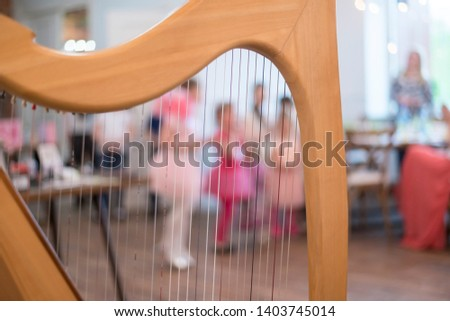 This is a beautiful item. Beautiful view of the musical stringed plucked instrument, harp, strings, in the interior.