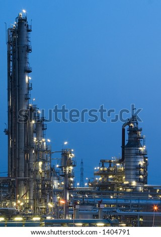 This is a big oil-works in night ligths.