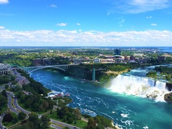 This is a breathtaking aerial view of Niagara Falls, Canada