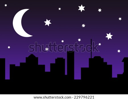 Cartoon City Skyline Night of a Night City Skyline