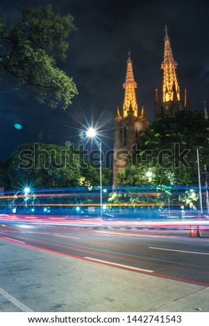 This is a cathedral, In Jakarta. With a light Trails #1442741543