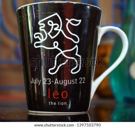 This is a Chinese clay cup, A lion's picture is drawn on the cup. This picture is the symbol of leo.