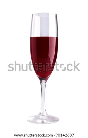 This is a closeup of glass with red wine isolated over white