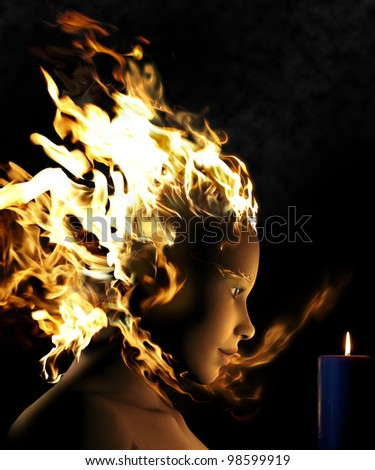 This is a composite of photography and a 3D rendering. A tragic love story between a fire woman and a candle.