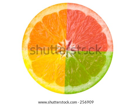 This is a composite shot of four different citrus fruit.