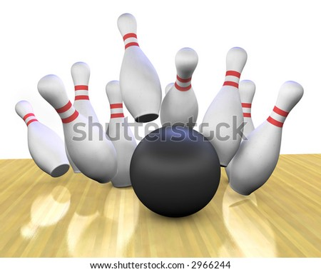 This is a 3d render of a bowling ball crashing into the pins.