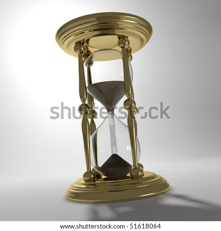 This is a 3d vintage hour glass that has sand falling from the top to the bottom.