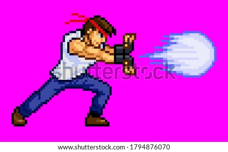 This is a design in which a male fighter in a T-shirt shoots a special move.