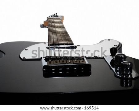 This is a drop out white background shot of an electric guitar.