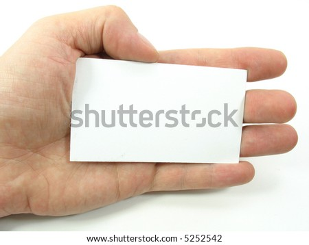 This is a hand holding a blank business card. This gives the user the option to place there business information on the blank card. Copy Space.