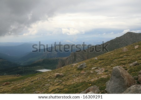 This is a High Mountain Meadow on Mount Evans Colorado at the start of a storm