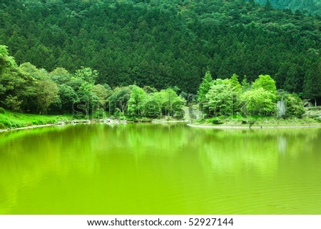 This is a mountain pond with green trees
