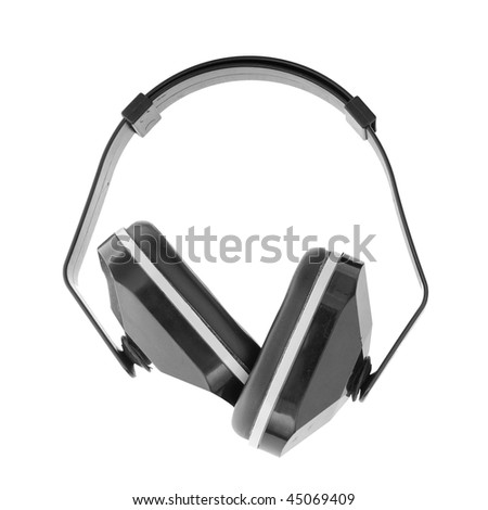 This is a pair of plastic ear muffs that block out sound when put over a person's ears. Isolated on white.