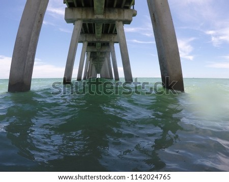 This is a photo of a well known fishing pier a fishing pier near Venice, Florida. The photo reminds me of a cement cathedral. #1142024765