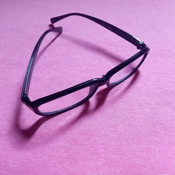 This is a photo of myopic glasses with the words