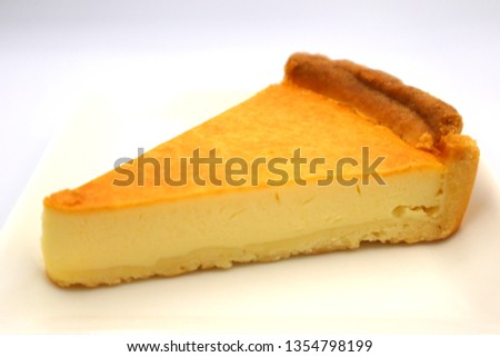 This is a picture of a baked cheese cake.