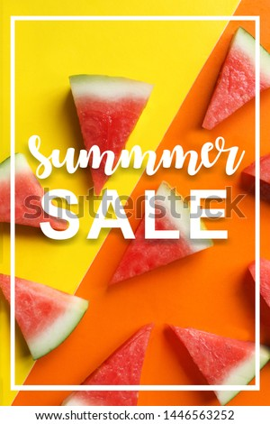 This is a picture of a watermelon cut into a triangle on a yellow-orange background with an English text that says summer sale