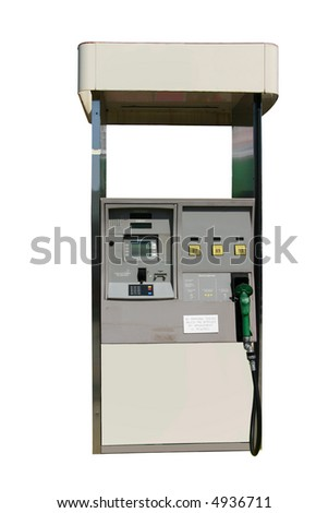 This is a picture of an electronic fuel pump with three choices of gas and credit card payment option isolated on a white back ground.