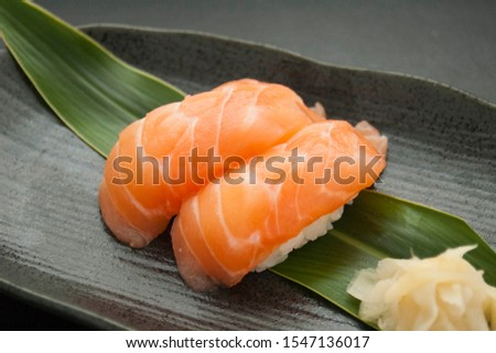 This is a picture of Japanese sushi. The ingredients for this shushi are Salmon.