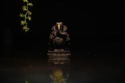 This is a picture of Lord Ganesha From Idugunji Ganapathi temple, Idugunji, North Karnataka.