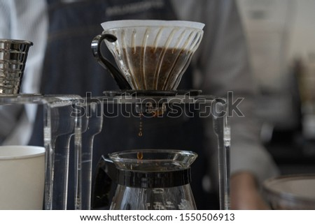 This is a picture of making a drip coffee. In cafe. Barista