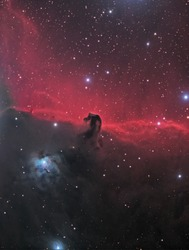 This is a picture of nebula complex B33, also known as the Horsehead Nebula. It is a nebula complex of emission, reflection, and dark nebulae about 1500 light years away in the constellation Orion.