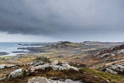 This is a picture of rugged Irish coastline in Donegal Ireland just before a storm