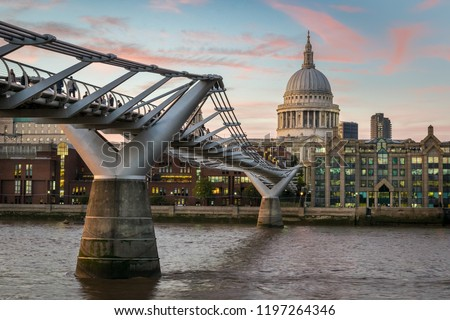 This is a picture of  the Millennium Bridge and St Paul's Catherdral in London at sunset #1197264346