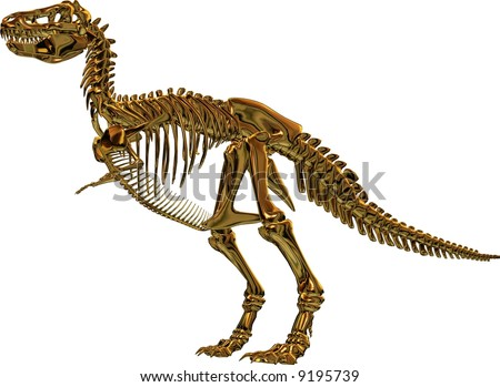 This is a Rendering, which shows a skeleton from a Tyrannosaurus rex, also called T-Rex.