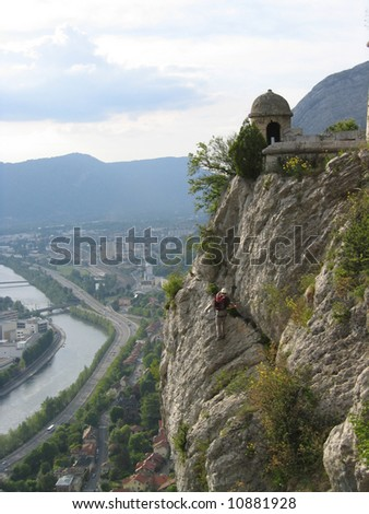 This is a Rock Climber Above Grenoble France