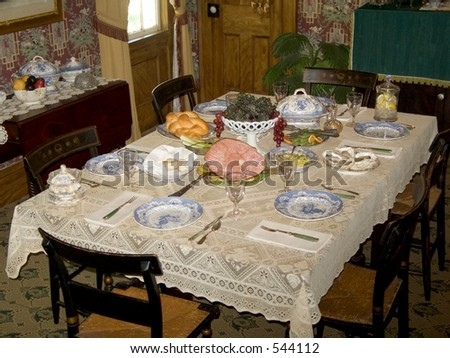 This Is A Shot Of A Nice Antique Table Setting Stock