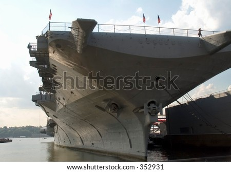 This is a shot of an aircraft carrier head-on.