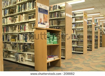 This is a shot of some book shelfs at the local library.