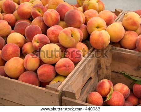 This is a shot of some crates of fresh peaches.