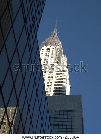 This is a shot of the Chrysler Building in New York City.