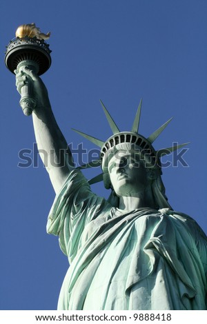 This is a top view of the statue of liberty including crown and torch - stock photo