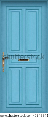 This is a Very High definition of a entire blue door with letter box