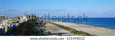 This is a view along the beach and ocean of South Beach Miami.