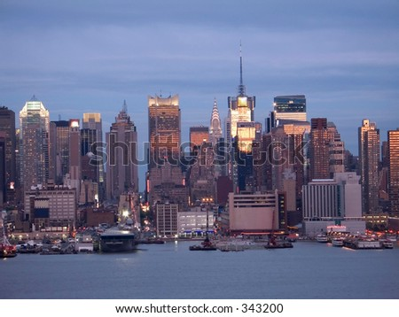 This is a view of the New York City skyline and the Hudson River waterfront.